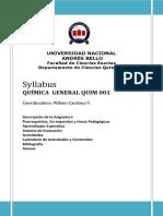 Syllabus curso QUIM001, Química Enfermería