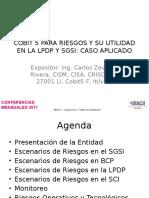 Cobit 5 para Riesgos y su Utilidad en la LPDP y SGSI