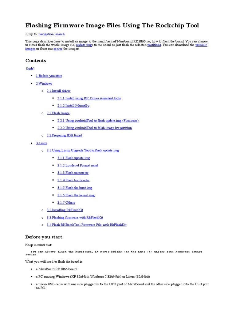 Flashing Firmware Image Files Using the Rockchip Tool | Flash Memory
