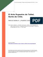 Patricio Nunez H. y Rodolfo Contreras N. (2004). El Arte Rupestre de Taltal, Norte de Chile