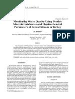 Calidad de Aguas y Macroinvertebrados