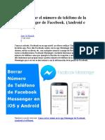 Como Borrar El Número de Teléfono de La App Messenger de Facebook