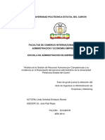 Analisis de La Gestion de Recursos Humanos Por Competencias y Su Incidencia en El Desempeño Del Personal Administrativo de La Upec - Ecuador (u)