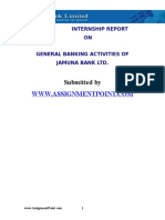 Internship Report on General Banking Activities of Jamuna Bank