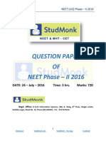 NEET Previous Year Question Paper | NEET 2016 Phase 2