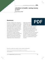 Economic Evaluation Saving Money or Impriving Care