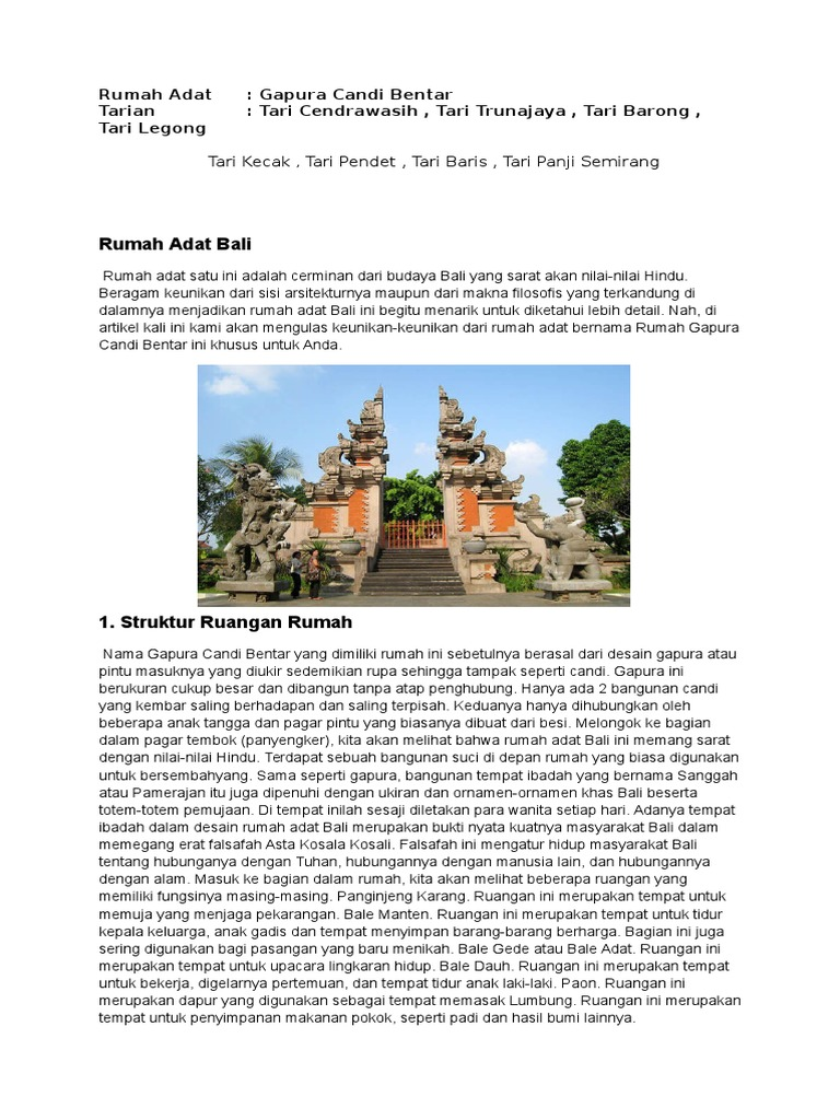85 Gambar Rumah Adat Bali Gapura Candi Bentar Hd Terbaru Gambar Rumah