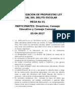 Sistematización Mesa 01 Propuesta Ley Prevención Delito Escolar - Copia