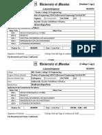 Exam Form Acknowledgment