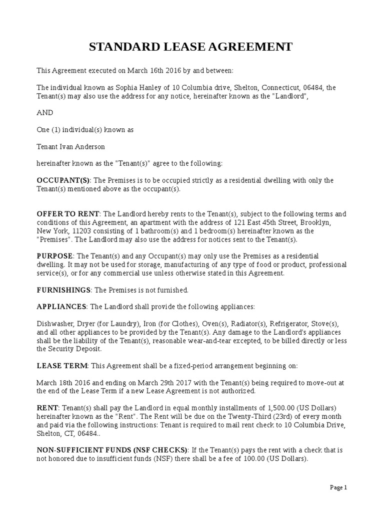 New York Standard Lease Agreement Residential 2017 03 29