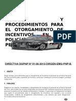 Normas y Procedimientos Para El Otorgamiento de Incentivos al Personal PNP