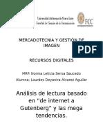 Análisis de Lectura Basado en de Internet a Gutenberg y Las Mega Tendencias.