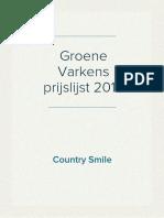 Country Smile's Groene Varkens Prijslijst april 2019