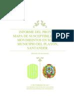 Mapa de Susceptibilidad Municipio del Playon