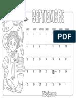 Calendario Infantil 2017 Para Colorear Septiembre