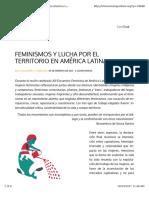 Feminismos y Lucha Por El Territorio en América Latina