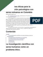 Condiciones Éticas Para La Investigación Psicológica Con Seres Humanos