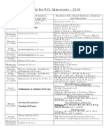 P.G. Admissions Schedule 2010