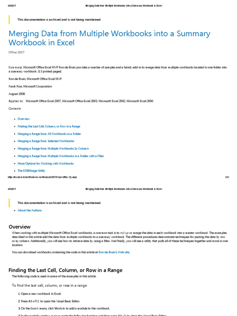 Merging Data From Multiple Workbooks Into a Summary Workbook in ...