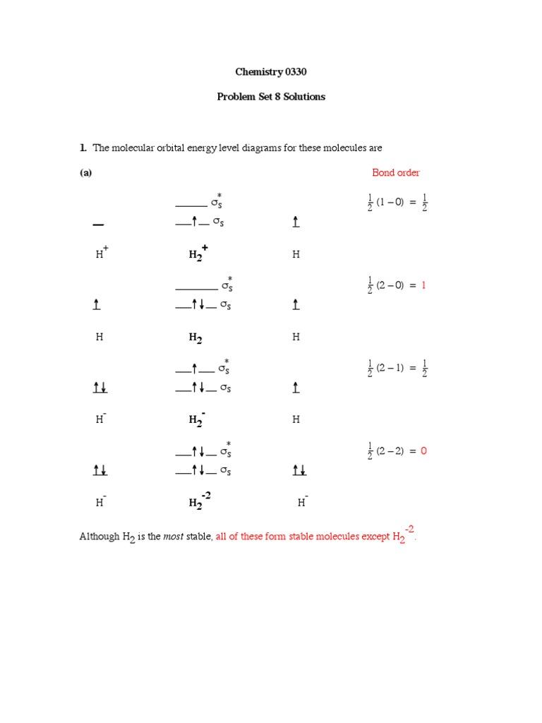 Problem set 8 solutions 2013pdf molecular orbital molecules pooptronica