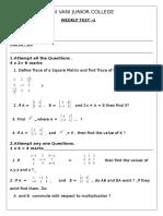 Weekly Test Maths- 1A