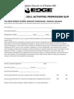 Edge Permission Slip 2010 - 2011