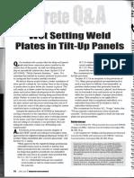 Wet Setting Weld Plates in TiltUp Panels