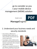 10 Things to consider as you choose your Mobile Device Management (MDM) solution