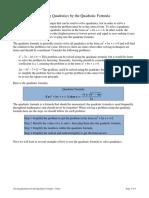 Solving Quads Quad Formula Notes