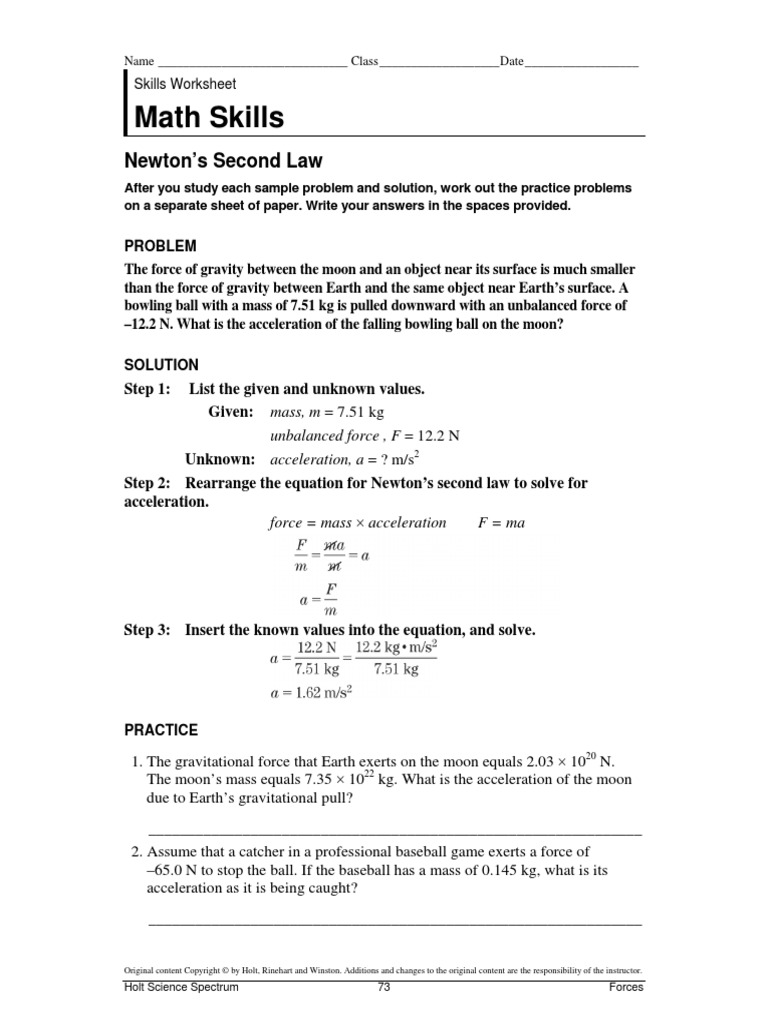 newtons 2nd law math skills | Gravity | Force