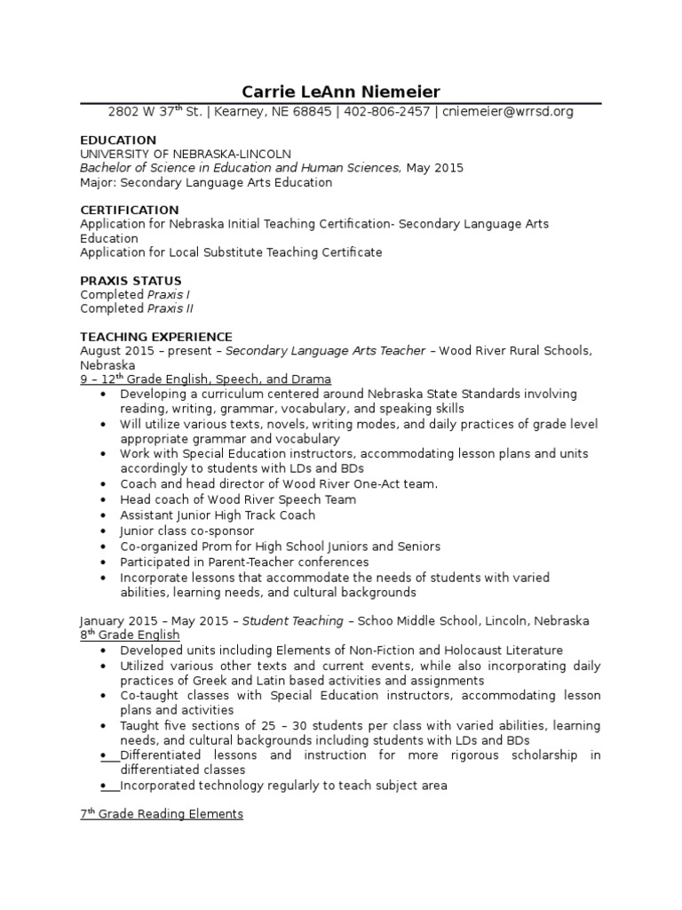 Most Recent Resume Secondary School Special Education