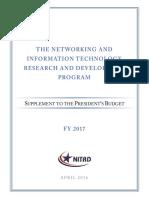 NITRD Program Supplement to the President's Budget – FY 2017