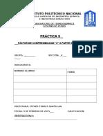 """PRÁCTICA NO.9 FACTOR DE COMPRESIBILIDAD """"Z"""" A PARTIR DE DATOS PVT."""