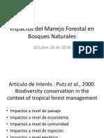 Impactos Del Manejo Forestal en Bosques Naturales