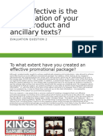 Question 2 - How effective is the combination of your main product and ancillary texts?