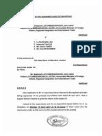 Fac-simile du document signé de la juge Nirmala Devat, en Cour suprême, refusant d'accorder le «gagging order» de Lutchmeenaraidoo contre «l'express»