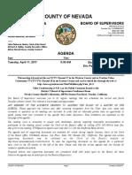 Nevada County BOS agenda for April 11, 2017