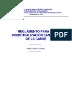 Reglamento de Industrializacion Sanitaria de La Carne 1952