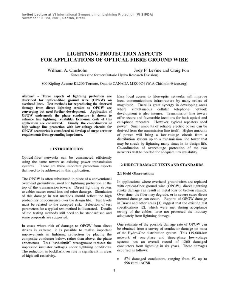 Lightning Protection Aspects for Applications of Optical Fibre ...