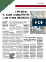 Más del 57% de obras en zonas vulnerables de Lima no son prioritarias - Gestión - Álvaro Espinoza y Ricardo Fort - 060417