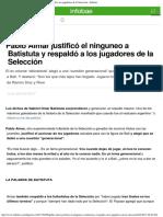 Pablo Aimar Justificó El Ninguneo a Batistuta y Respaldó a Los Jugadores de La