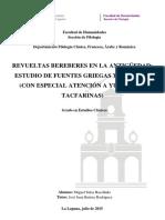 Revueltas Bereberes en La Antiguedad Estudio de Fuentes Griegas y Romanas
