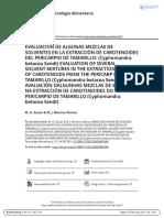 Evaluaci n de Algunas Mezclas de Solventes en La Extracci n de Carotenoides Del Pericarpio de Tamarillo Cyphomandra Betacea Sendt Evaluation Of