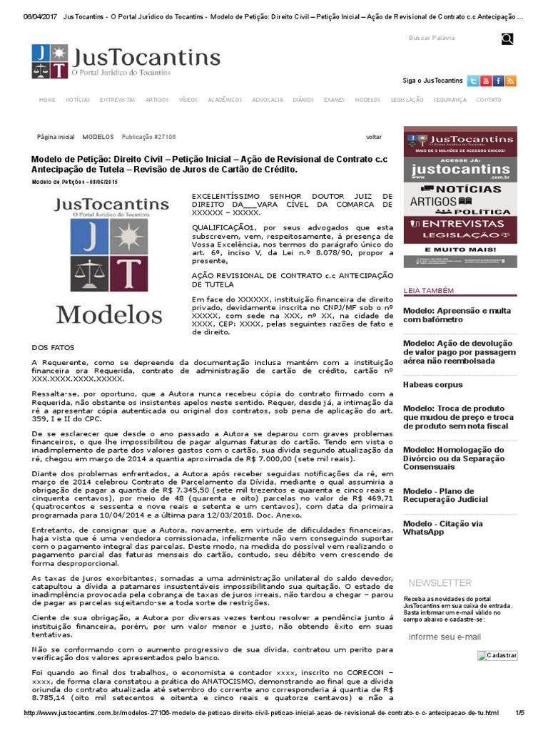 Justocantins O Portal Jurídico Do Tocantins Modelo De