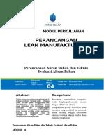 Modul Perancangan Lean Manufacturing [TM4] Aliran Bahan Dan Teknik Evaluasi