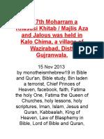 On 7th Moharram a Khasusi Khitab
