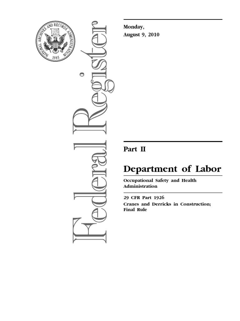 OSHA-Crane-Regulations-Final-Rule pdf | Occupational Safety
