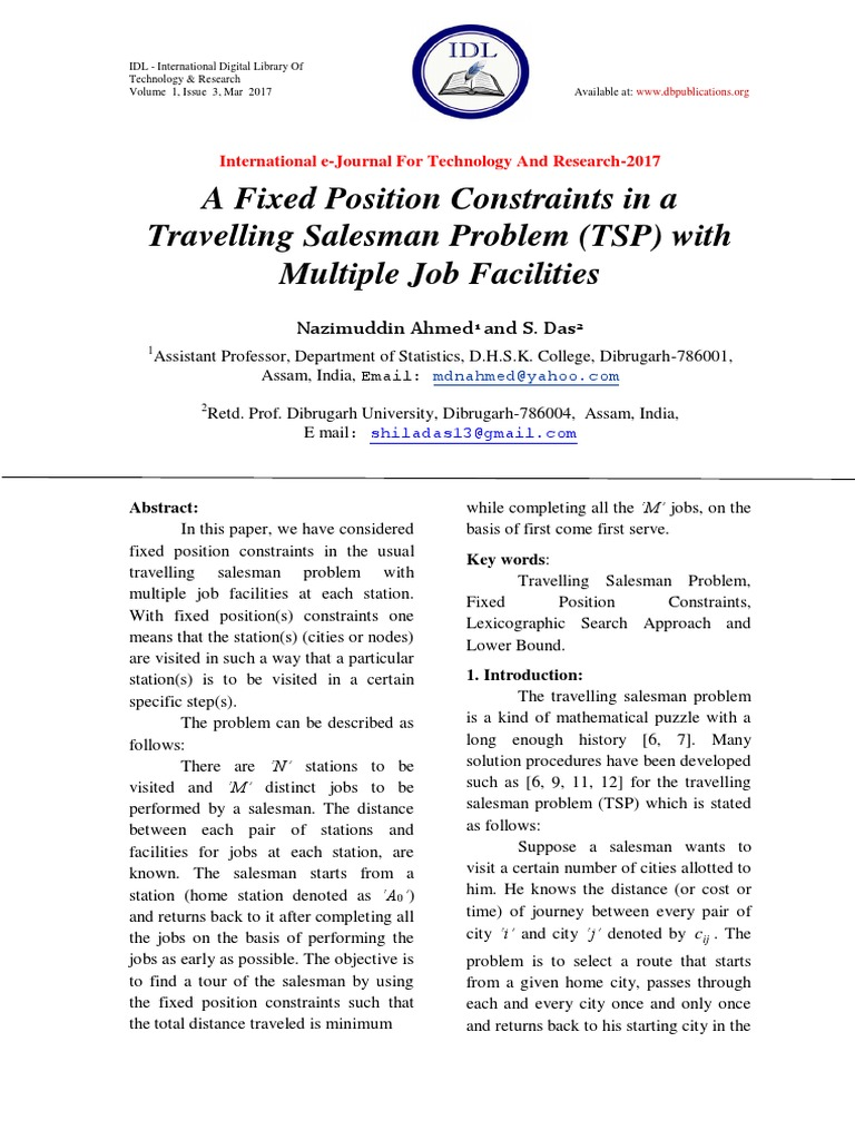 A Fixed Position Constraints In Travelling Salesman Problem Tsp Block Diagram Canonir5000 With Multiple Job Facilities Disabled Sports Physics Mathematics