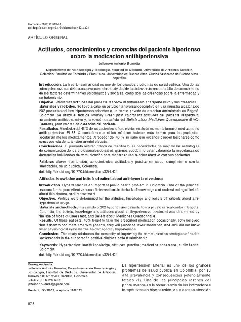 cuestionario del modelo de creencias de salud hipertensión