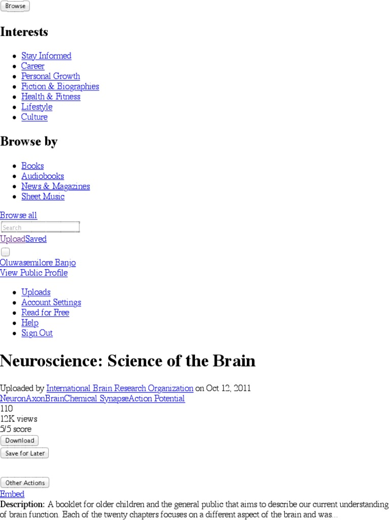 Neuroscience: Science of the Brain | Neuron pdf | Cognitive